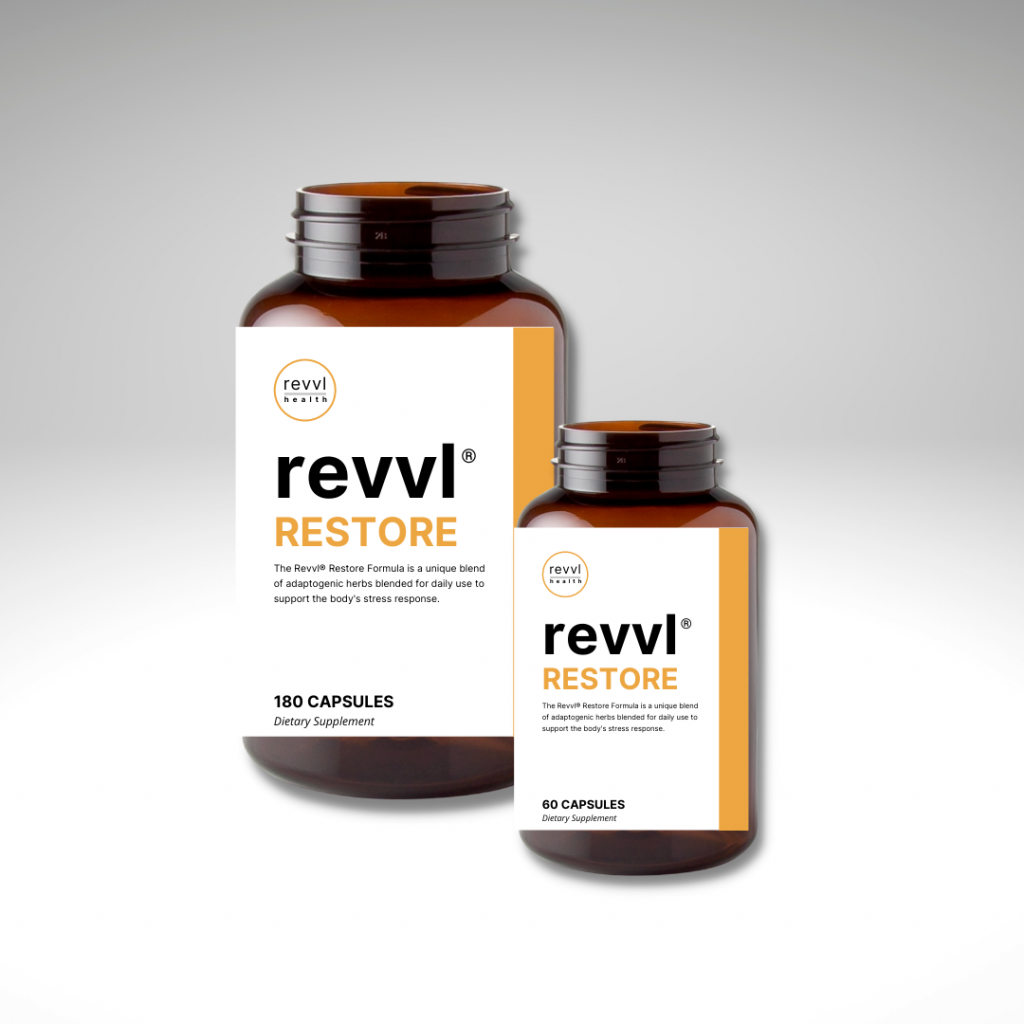 Revvl™ RESTORE – an all natural supplement that is blended with adaptogenic herbs to combat the negative effects of Post Traumatic Stress.